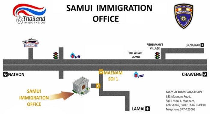 Koh Samui Immigration Office Map