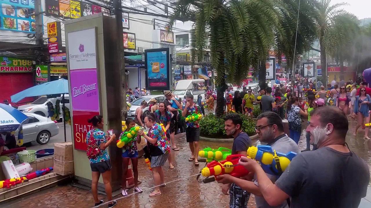 Songkran in Thailand Juncylong in Patong Phuket Thailand